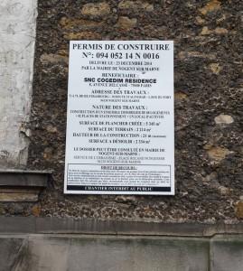 Exemple d'un affichage de permis de construire